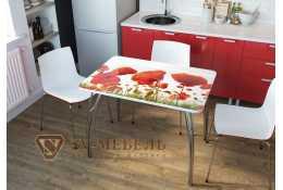 Стол обеденный с фотопечатью маки