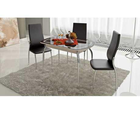 Стол обеденный раздвижной со стеклом с рисунком Милан СМ-203.23.01